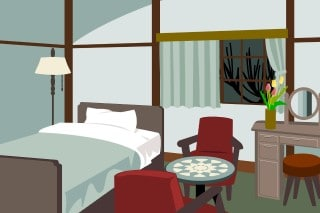cartoon showing a sleep hygiene friendly bedroom which may help keep snoring from leading to a divorce