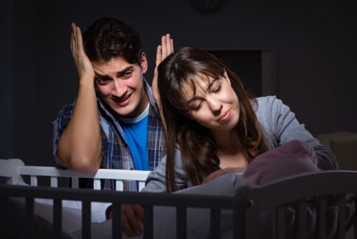 parents up late at night worried snoring woke the baby