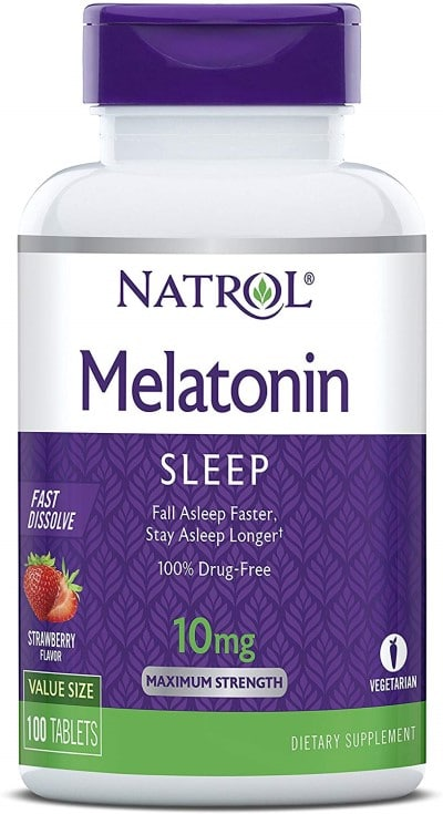 bottle of melatonin capsules which is sometimes reccommended with light therapy