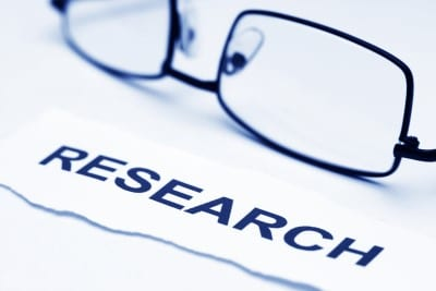 picture of glasses next to the word research