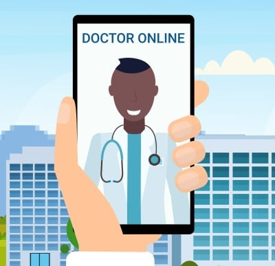 man talking to doctor remotely on smart phone
