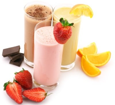 Fruit protein shakes in a glass which can help you avoid worries about how to go to sleep after having an energy drink