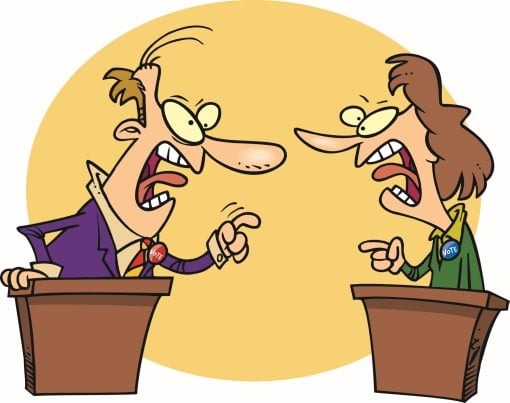 cartoon showing angry debate illustrating why politics is keeping you awake at night
