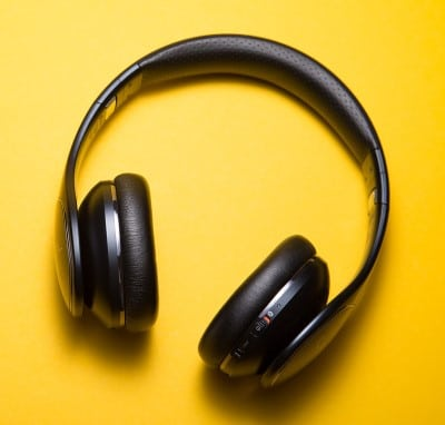 earphones illustrating listening to music can help if CPAP is stressing you out