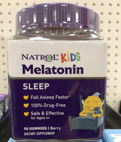 photo of melatonin supplement which is one of the most popular sleep aids for kids