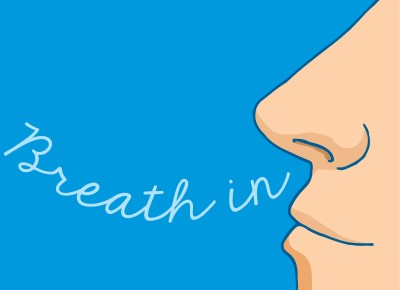 cartoon drawing of man practicing breathing to help with CPAP panic attacks