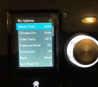 photo of cpap machine screen showing settings that can be changed to help with CPAP panic attacks