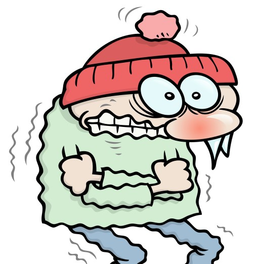 cartoon drawing of man shivering who is too cold to sleep