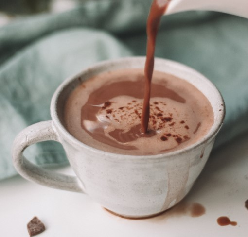 photo of cup of hot chocolate to drink before bed