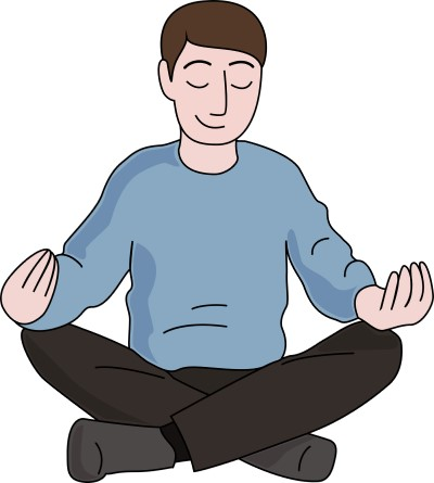 drawing of man doing mindfulness meditation because he's too excited to sleep at night