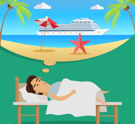 cartoon drawing of man thinking about vacation cruise and too excited to sleep