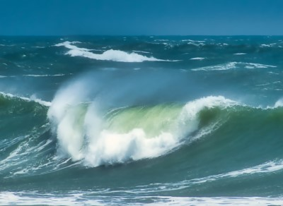 photo of crashing waves you hear on sleep tracks that can help if you're too excited to sleep