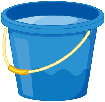cartoon drawing of a bucket of cold water to use instead of ice in front of a fan