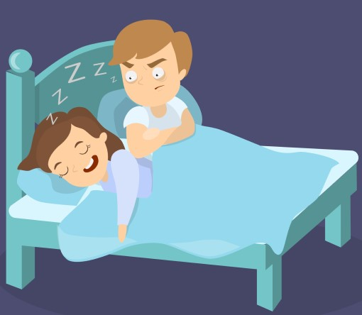 cartoon of frustrated man who may need individual and couples counseling for sleep