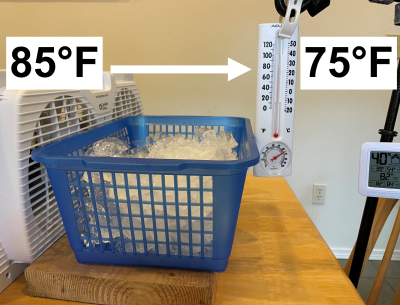 photo of cubed ice in a basket in front of a fan with a thermometer
