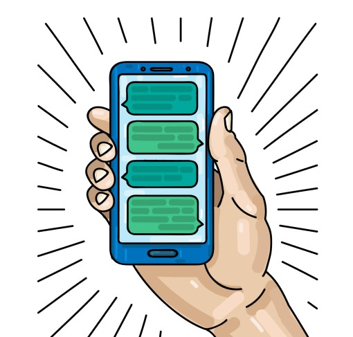 cartoon drawing of cell phone text alerts making noise to wake someone up at night